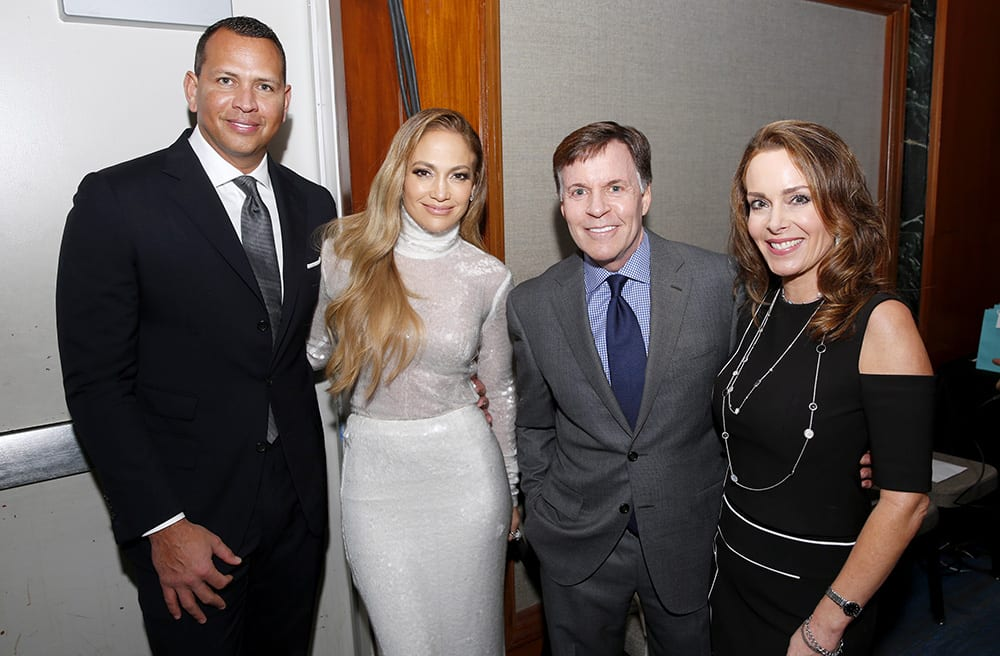 Alex Rodriguez and Jennifer Lopez with Bob Costas and Jill Sutton