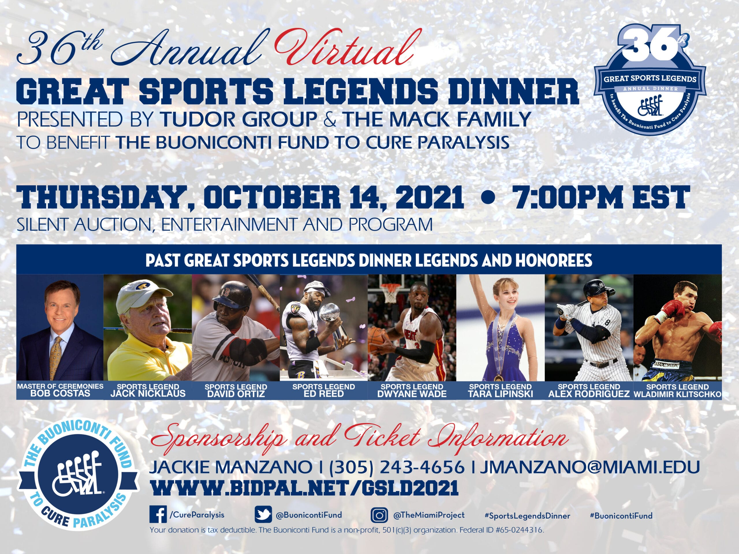 36th Annual Great Sports Legends Dinner Save the Date