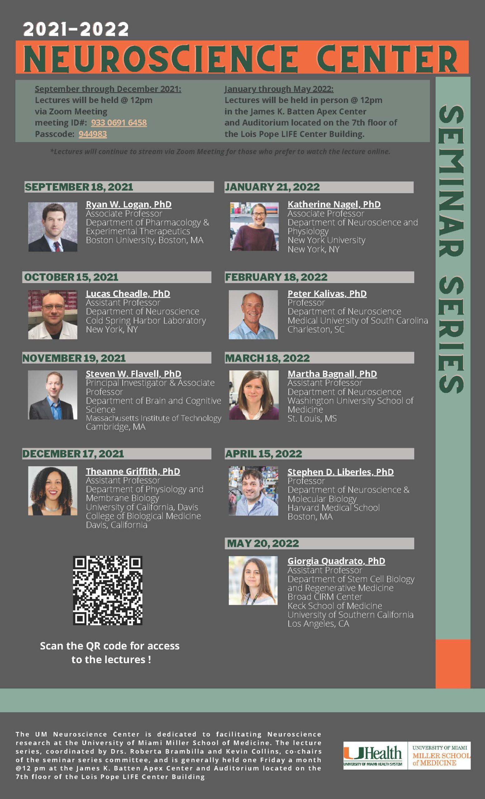 Neuroscience Center Seminar Series 2021-2022