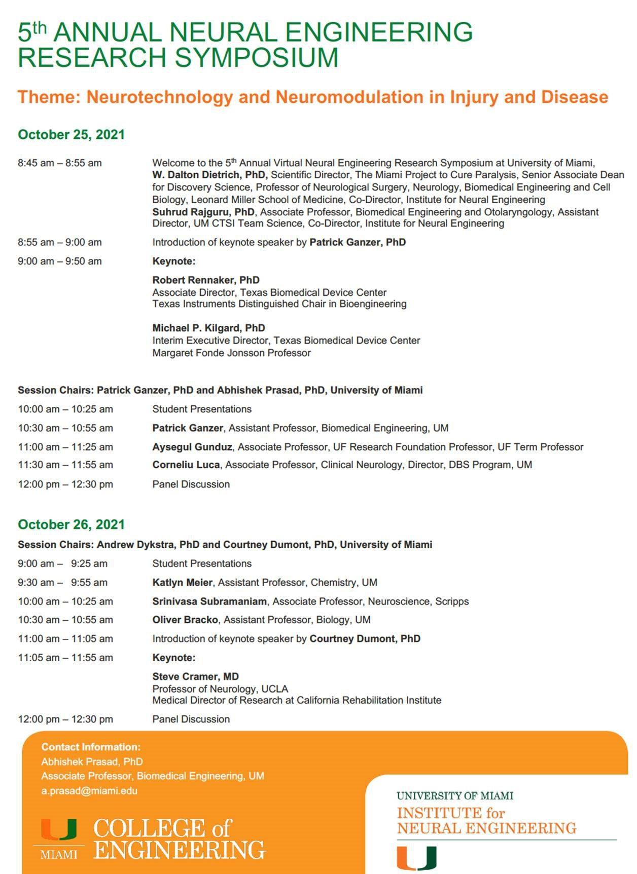 Neural Engineering Symposium 2021 Schedule
